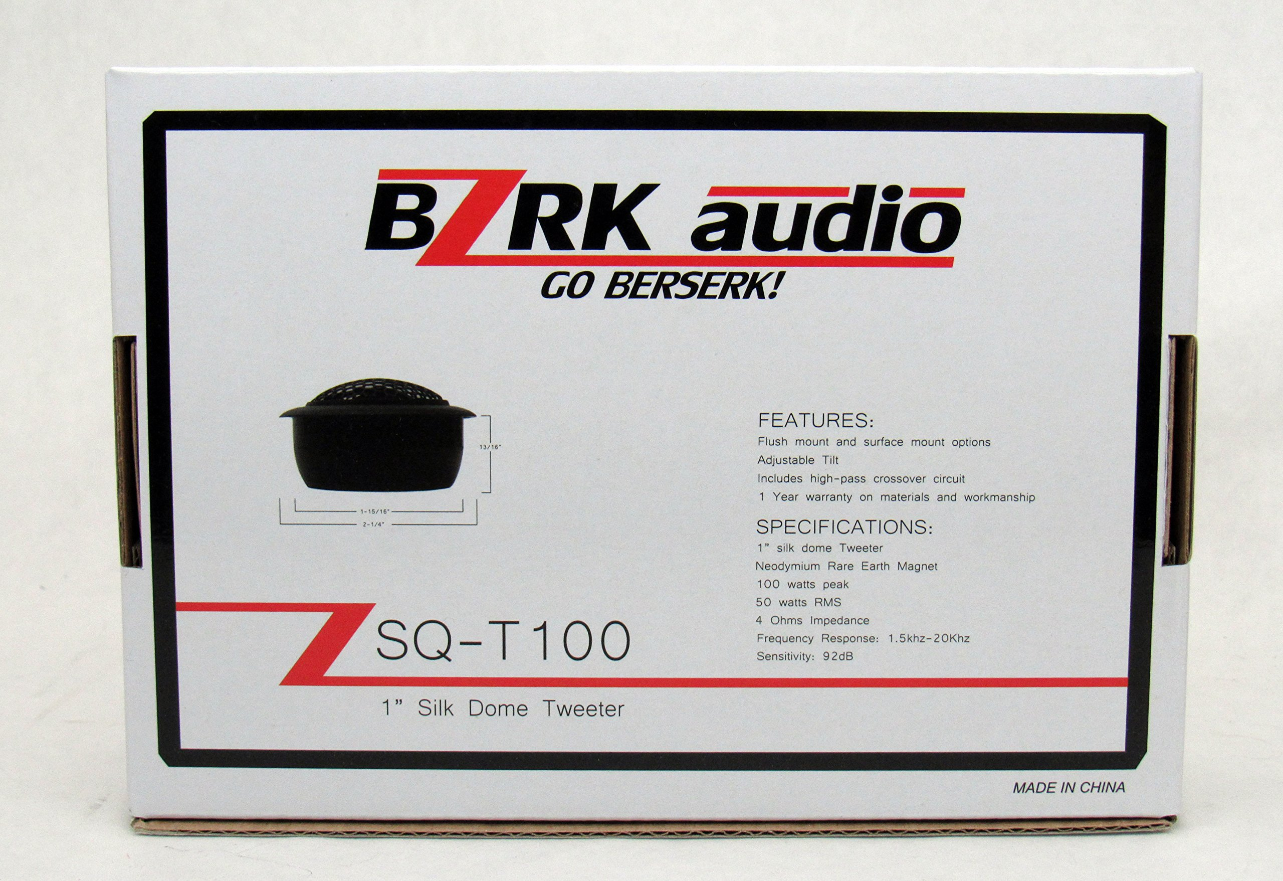 BZRK Audio Component Tweeters by 1'' Silk Dome 100 watts - Flush or Surface Mount for Car by BZRK Audio (Image #6)