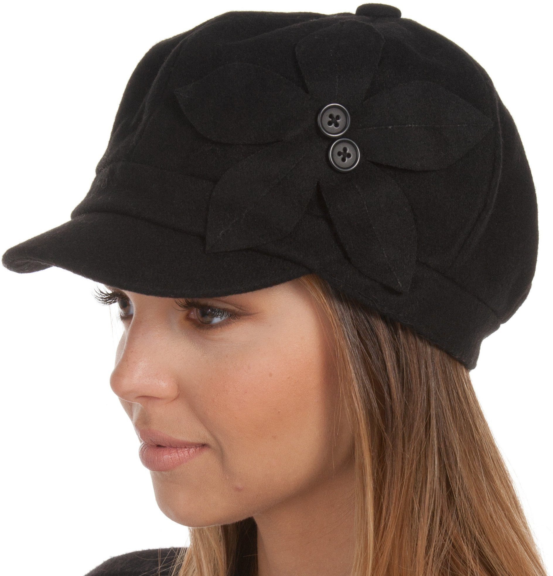 Sakkas 405BC Sasha Wool Newsboy Cabbie Hat with Button Flower - Black - One Size by Sakkas