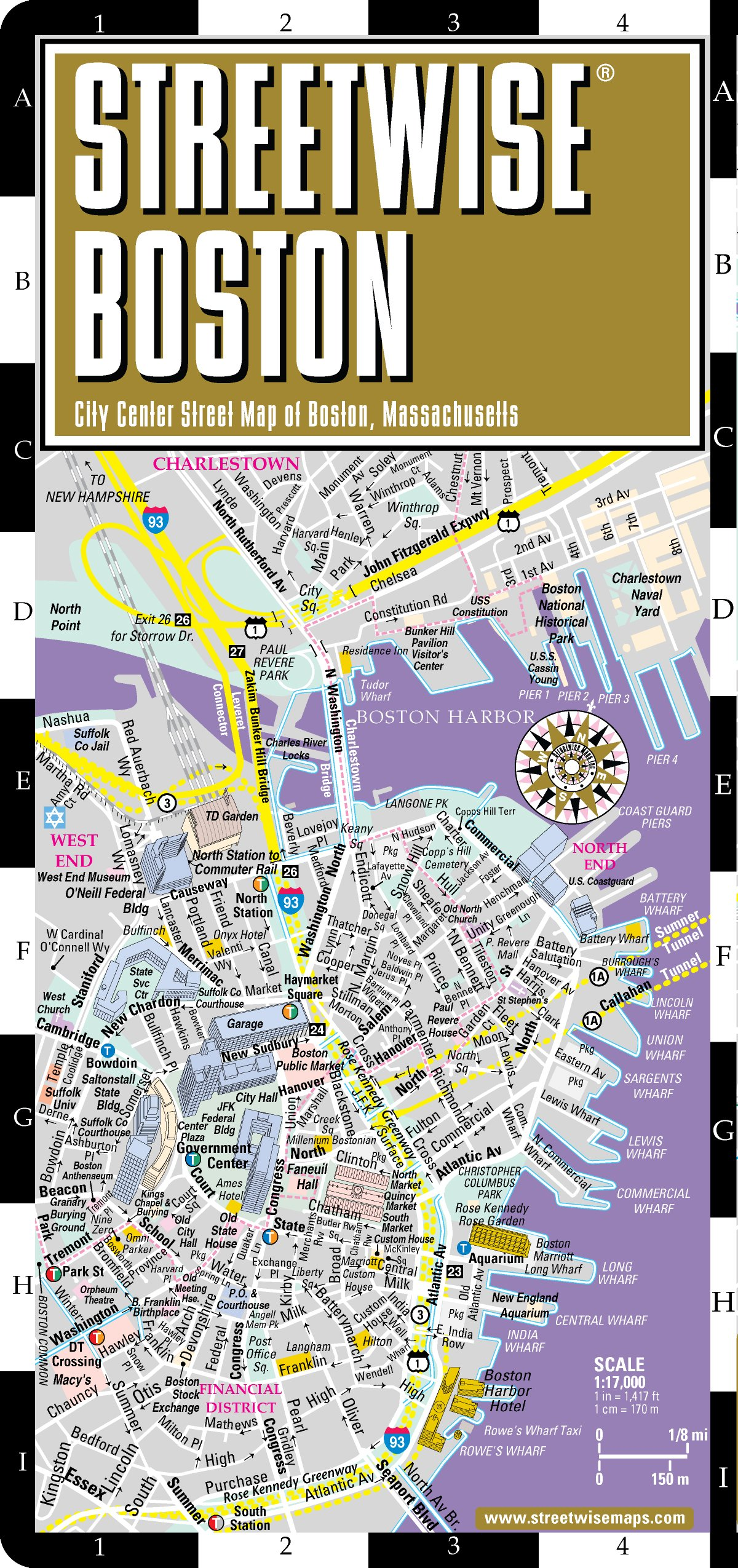 Streetwise Boston Map Laminated City Center Street Map of Boston – Boston City Map Tourist