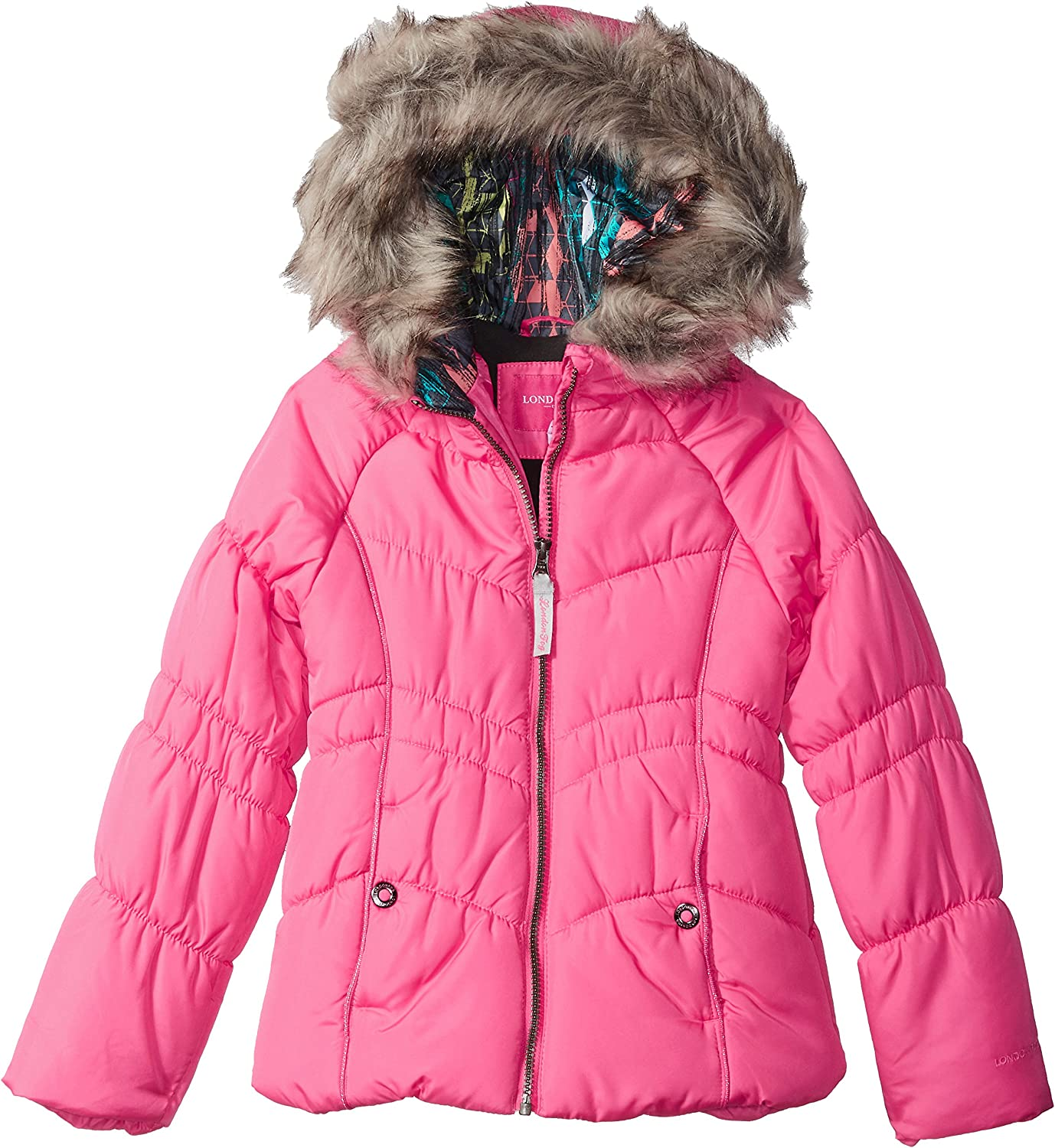 LONDON FOG Girls Puffer Jacket with Accessory
