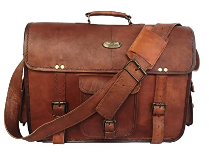 b5ed9651d55c Image Unavailable. Image not available for. Color  18 Inch Leather  Messenger Bag Vintage Handmade ...