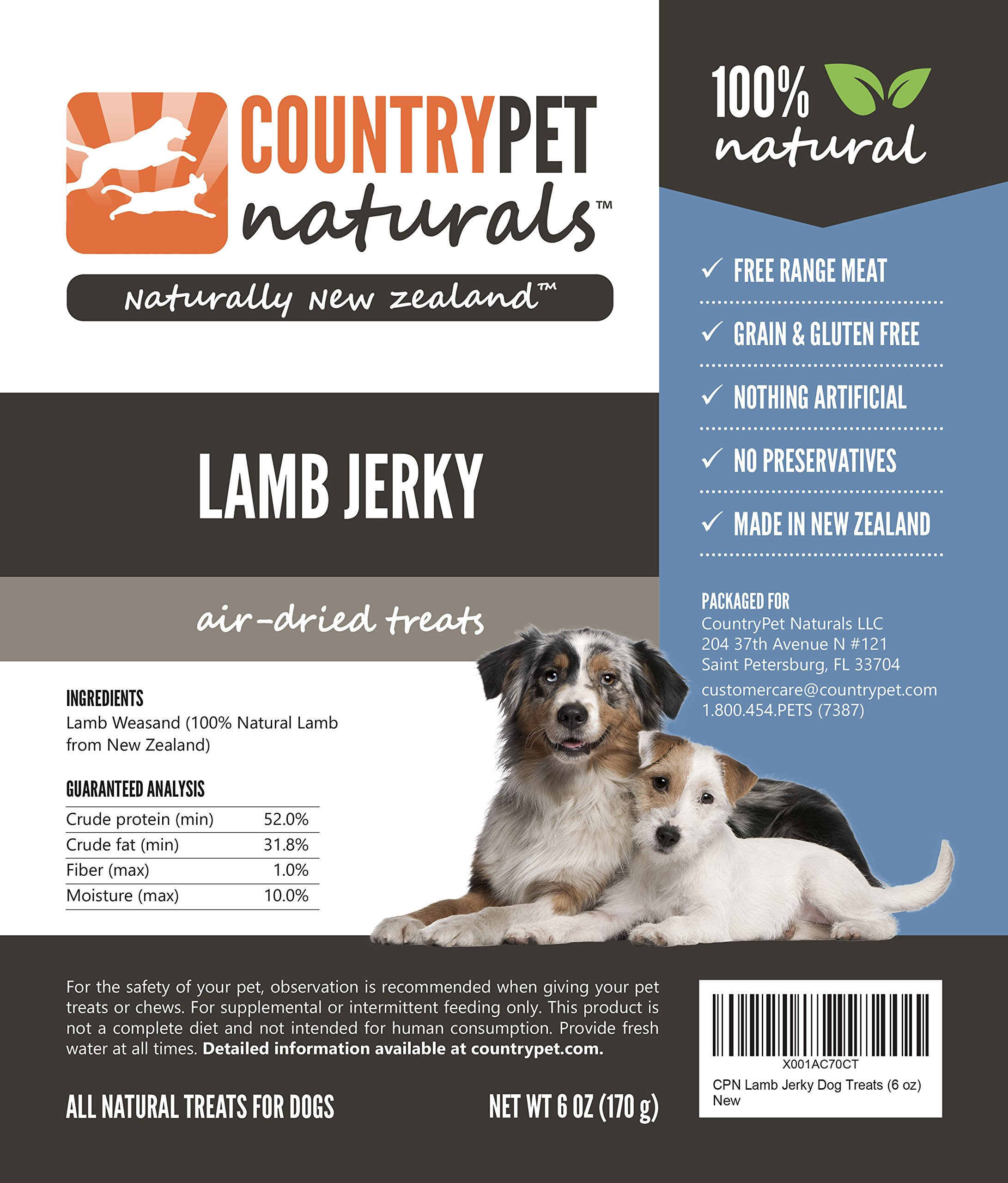 Lamb Jerky Treats for Dogs by CountryPet Naturals (6 Ounces) - Air Dried, Healthy Snack and Training Reward - 100% Natural, Grain Free, Gluten Free, Single Ingredient - Made in New Zealand by CountryPet Naturals (Image #4)
