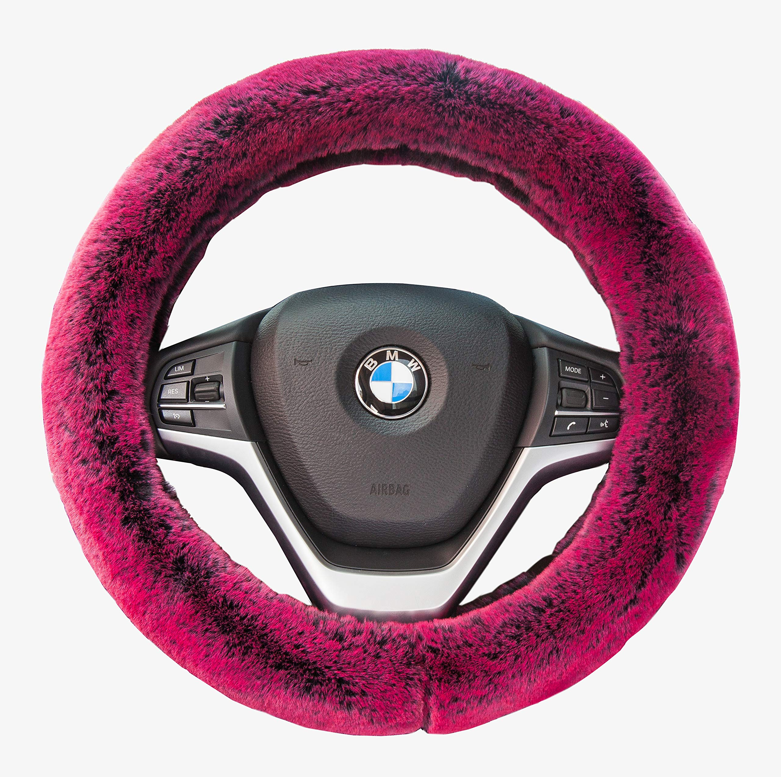 Car Steering Wheel Cover Winter Faux Wool Universal Auto Plush Steering Wheel Cover Protector (Plush Style B Red Wine)