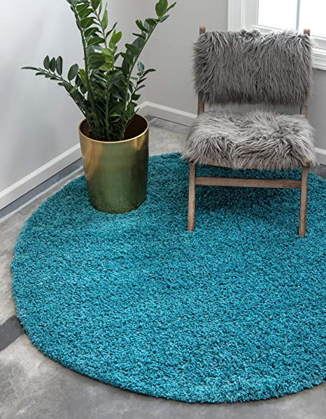 Bedroom Polyester 3 Round Petrol Blue Living Room Maple Home Area Rug Indoor