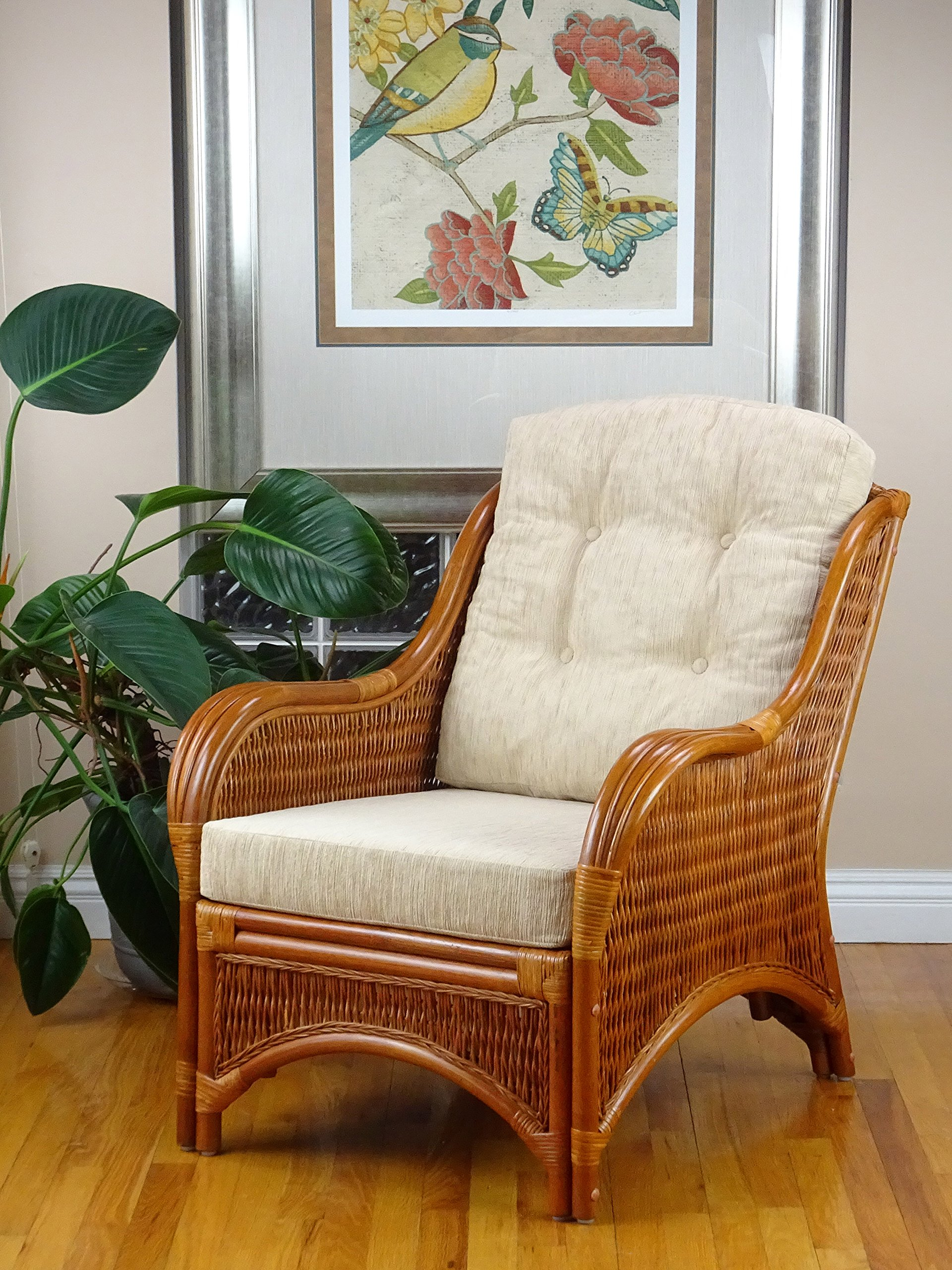 Jam Design Natural Rattan Handmade Wicker Light Brown Lounge Chair with Cream Cushion