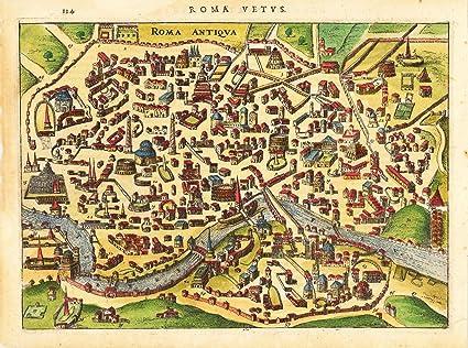 Póster de mapa de la antigua Roma de Ciudad – impreso en hecho a mano papel