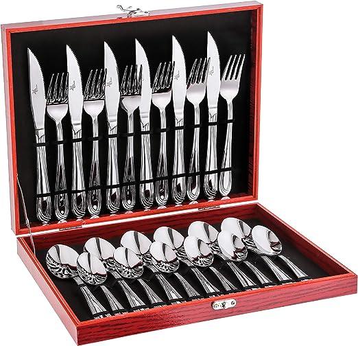 Avalon - Juego de cubiertos para 6 utensilios de cocina, 24 piezas, con caja de lujo, acero inoxidable 18/10, pulido con espejo, apto para lavavajillas, colección PREMIO: Amazon.es: Hogar