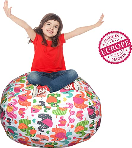 Extra Large Stuffed Animal Storage Bean Bag Cover Europe Made Lab Tested Fabric The Ultimate Storage Solution to Clean Up Organize Kid s Room Free E-Book Multi-Color Elephant