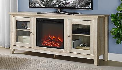 Amazon Com We Furniture Az58fp4dwwo Fireplace Tv Stand White Oak