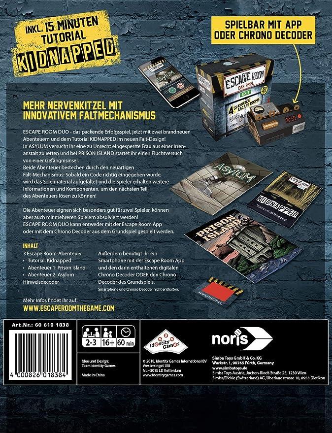 Noris 606101838 Escape Room Das Spiel Duo Inkl 2 Fällen Amazonde