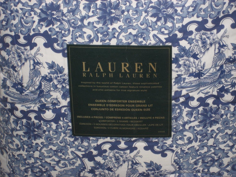 Amazon.com: Ralph Lauren Porcelain Blue Comforter Set Queen: Home U0026 Kitchen