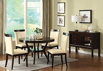 Furniture of America Galore 5 Piece Round Table Dining Set  EspressoAmazon com   Furniture of America Galore 5 Piece Round Table  . Round 5 Piece Dining Set With Leaf. Home Design Ideas