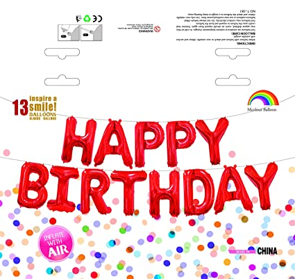 mcolour balloon birthday party 16 inch cute happy birthday letters foil balloons red birthday letter