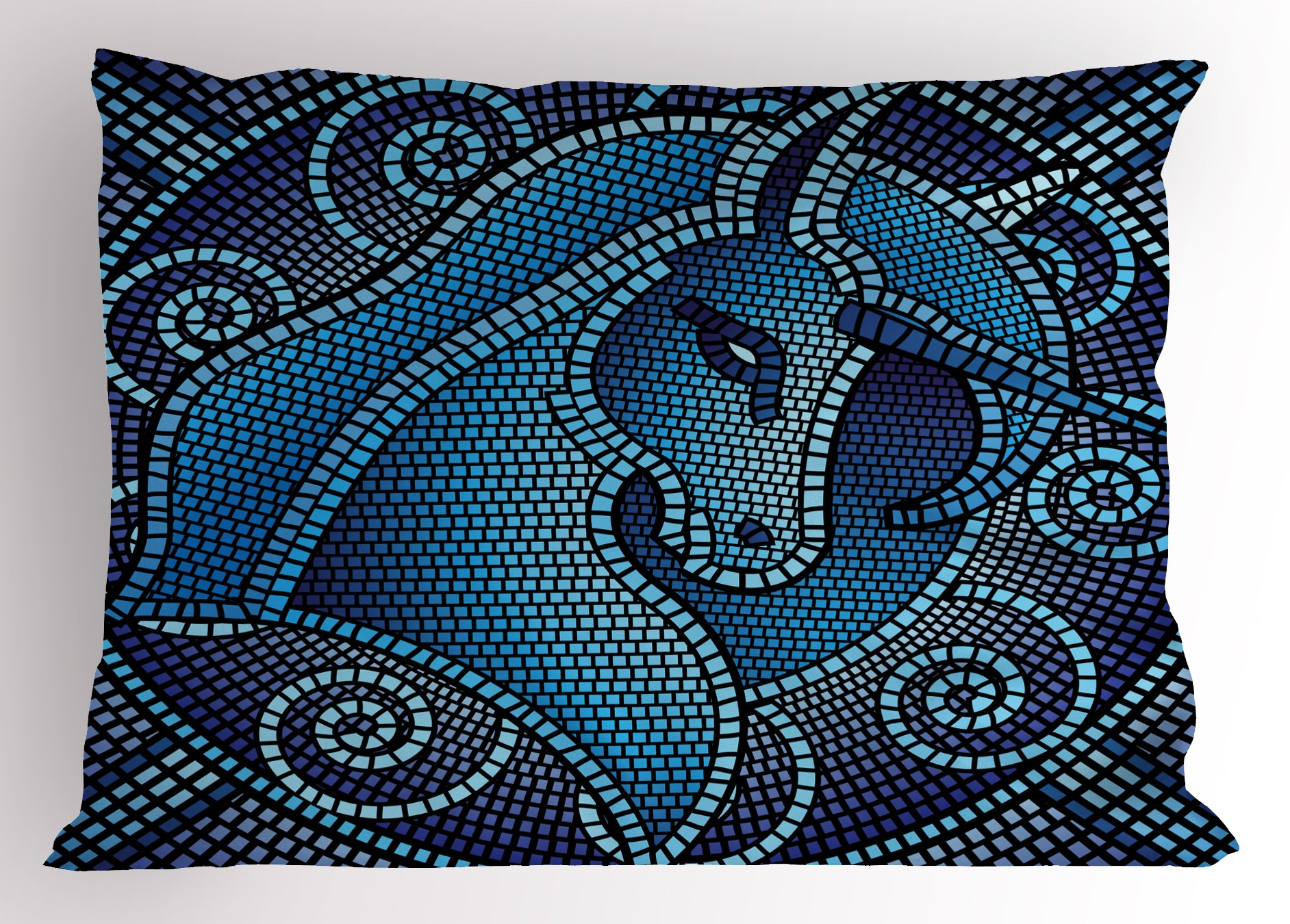 Lunarable Animal Pillow Sham, Antique Rome Mosaic Mythical Horse Unicorn with its Horn Ombre Like Print, Decorative Standard King Size Printed Pillowcase, 36 X 20 inches, Dark Blue and Blue