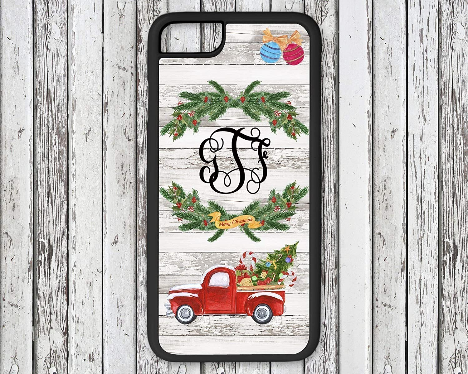 Personalized Monogram Red Christmas Truck Phone Case White Distressed Wood Background iPhone X 6 7 8 Plus