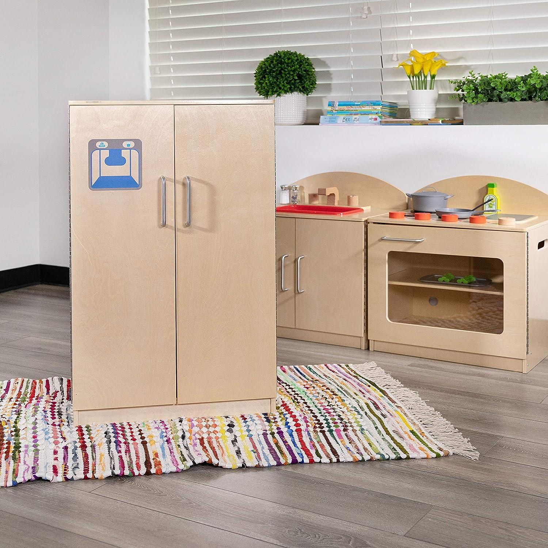 Flash Furniture Children's Wooden Kitchen Refrigerator for Commercial or Home Use - Safe, Kid Friendly Design