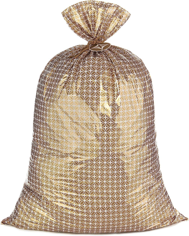 "Hallmark 56"" Jumbo Plastic Gift Bag (Gold Pattern) for Graduations, Weddings, Bridal Showers, Mother's Day, Birthdays, Engagement Parties, Retirements, Christmas, Hanukkah"