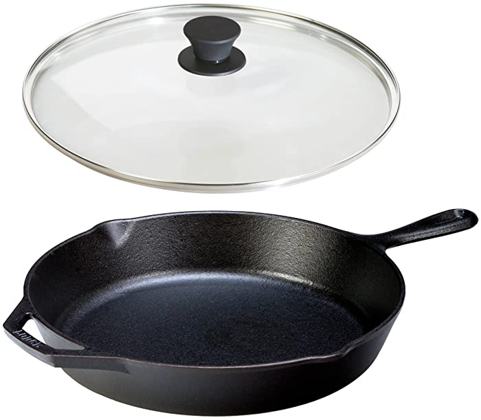 Lodge Seasoned Cast Iron Skillet w/Tempered Glass Lid (12 Inch) - Medium Cast Iron Frying Pan With Lid Set