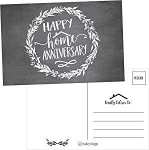 25 Chalk Happy Home Anniversary Realtor Cards, Blank Greeting House Postcards, Bulk Real Estate Thank You Notes, Welcome Home Realtor Gifts Stationery, New Realtor Gifts For Clients, Housiversary Card