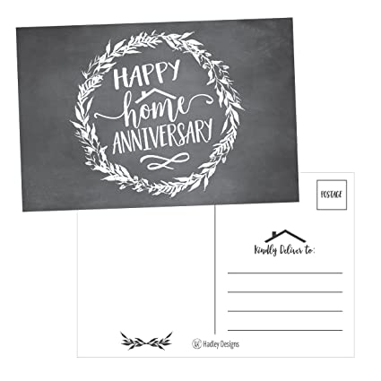 25 chalk happy home anniversary realtor cards blank greeting house postcards bulk real estate - Real Estate Thank You Notes Card