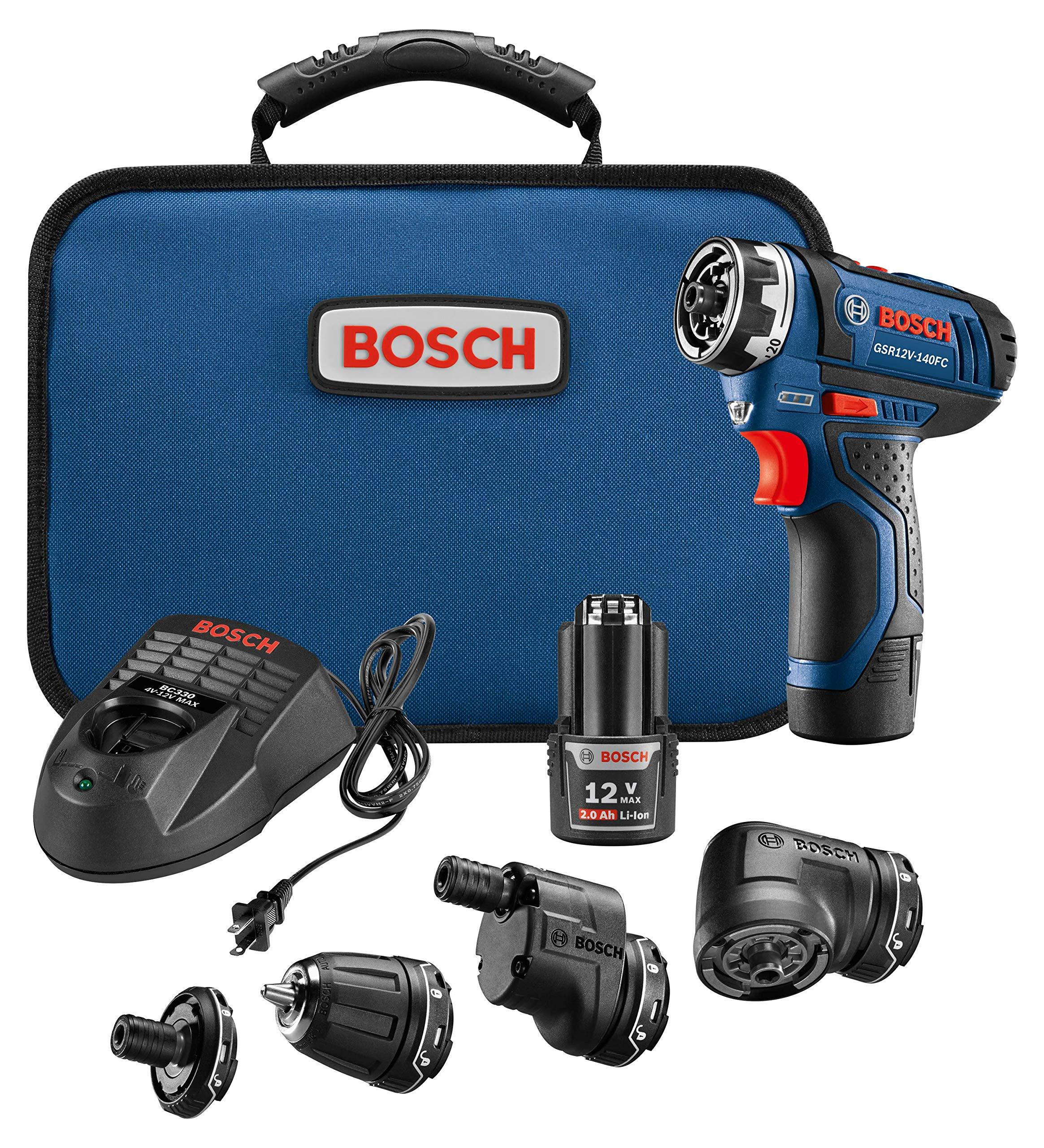 Bosch GSR12V-140FCB22 Cordless Electric Screwdriver 12V Kit - 5-In-1 Multi-Head Power Drill Set
