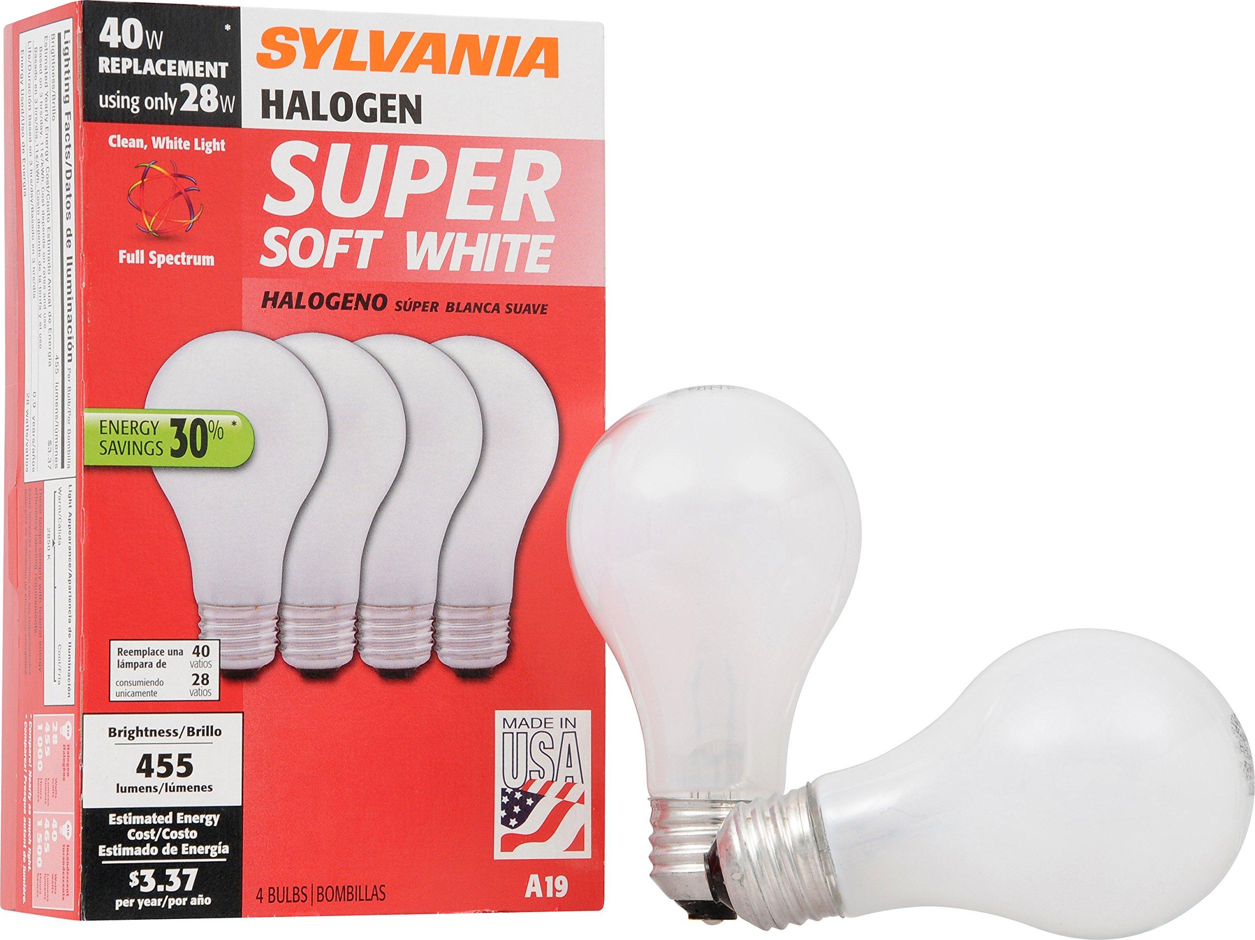 Sylvania Home Lighting 52190 Tungsten Halogen Bulb, A19-40W-2700K, Soft White Finish, Medium Base, Pack of 4