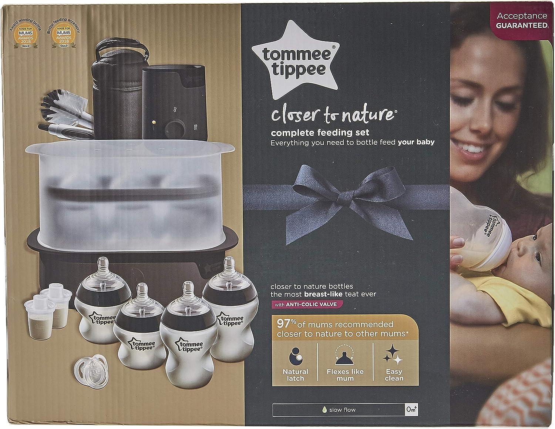 طقم إرضاع كامل كلوزر تو ناتشر من تومي تيبي – بلون أسود/شفاف/أبيض