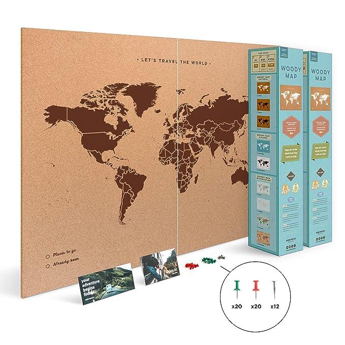 102 opinioni per Miss Wood Mappa del Mondo, PVC, Marrone, XXL-90x120cm, 2 unità