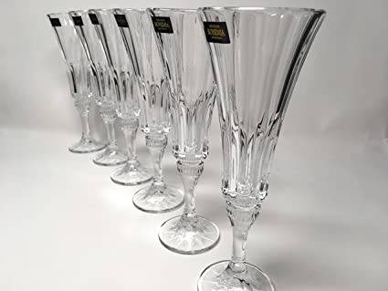 0401b3109db BOHEMIAN CRYSTAL GLASS CHAMPAGNE FLUTES 6 oz.   180 ml. SET OF 6 CUT