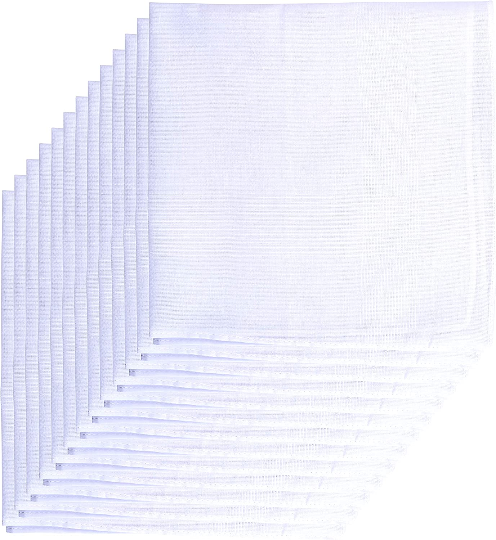 Van Heusen Men's Fine Handkerchiefs,65% Poly 35% Cotton,White Hankie,Pack of 13 Pieces