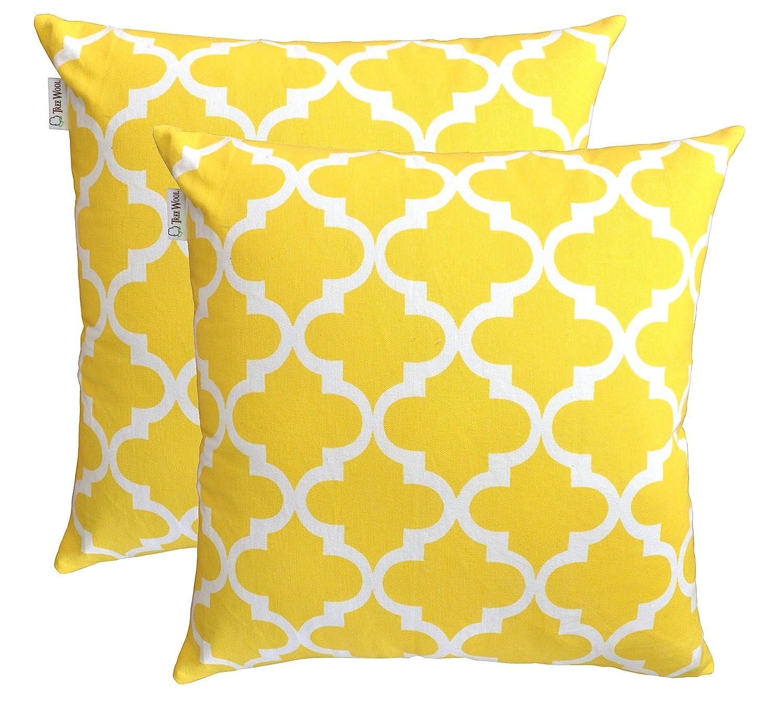 Amazon.com: TreeWool Throw Pillowcase Trellis Accent Pure Cotton ...