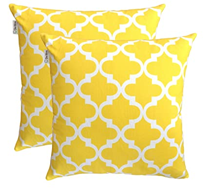 TreeWool Decorative Square Throw Pillow Covers Set Trellis Accent 100% Cotton Cushion Cases Pillowcases (22 x 22 Inches / 55 x 55 cm; Yellow & White) ...