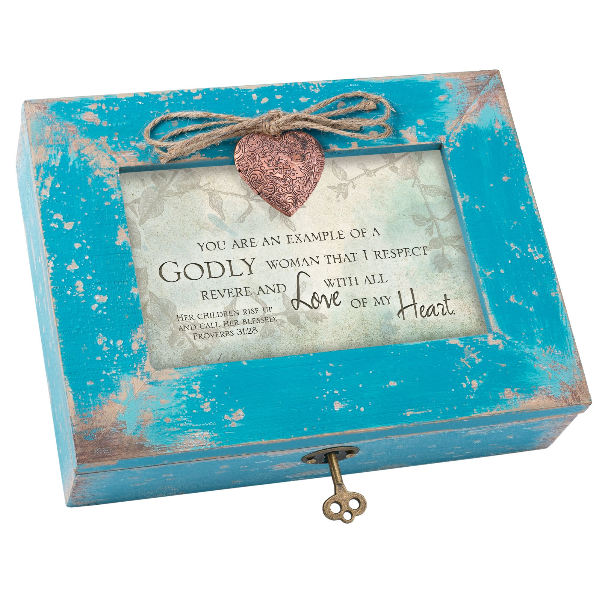 Cottage Garden Godly Woman I Respect and Love Teal Wood Locket Jewelry Music Box Plays Tune Amazing Grace