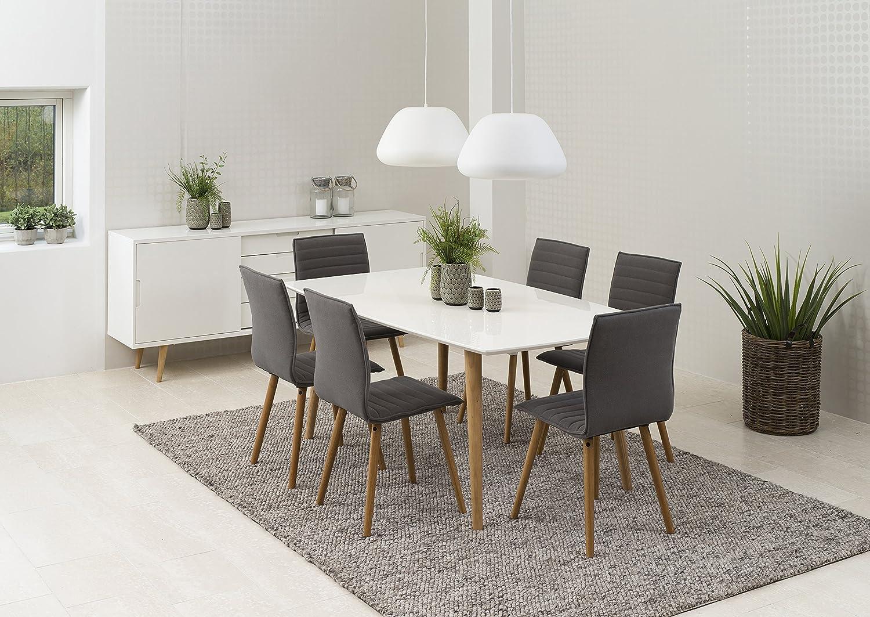 s rensen design essgruppe 7 tlg komplett 1x esstisch elise wei holz 6x polsterstuhl karla. Black Bedroom Furniture Sets. Home Design Ideas