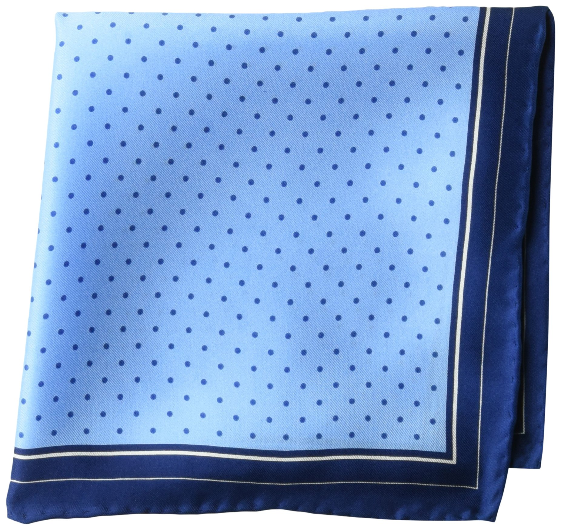 Buttoned Down Men's Classic Silk Hand Rolled Pocket Square, light blue dot, One Size