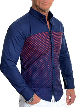 Men Checkered Shirt Button Chemise Long Sleeve Casual Shirts,Purple,XL