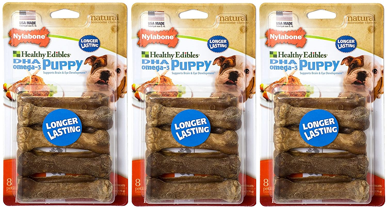 (3 Pack) Healthy Edibles Dog Chew Petite Treat Bones for Puppies (8 ct. Per Pack Lamb and Apple)