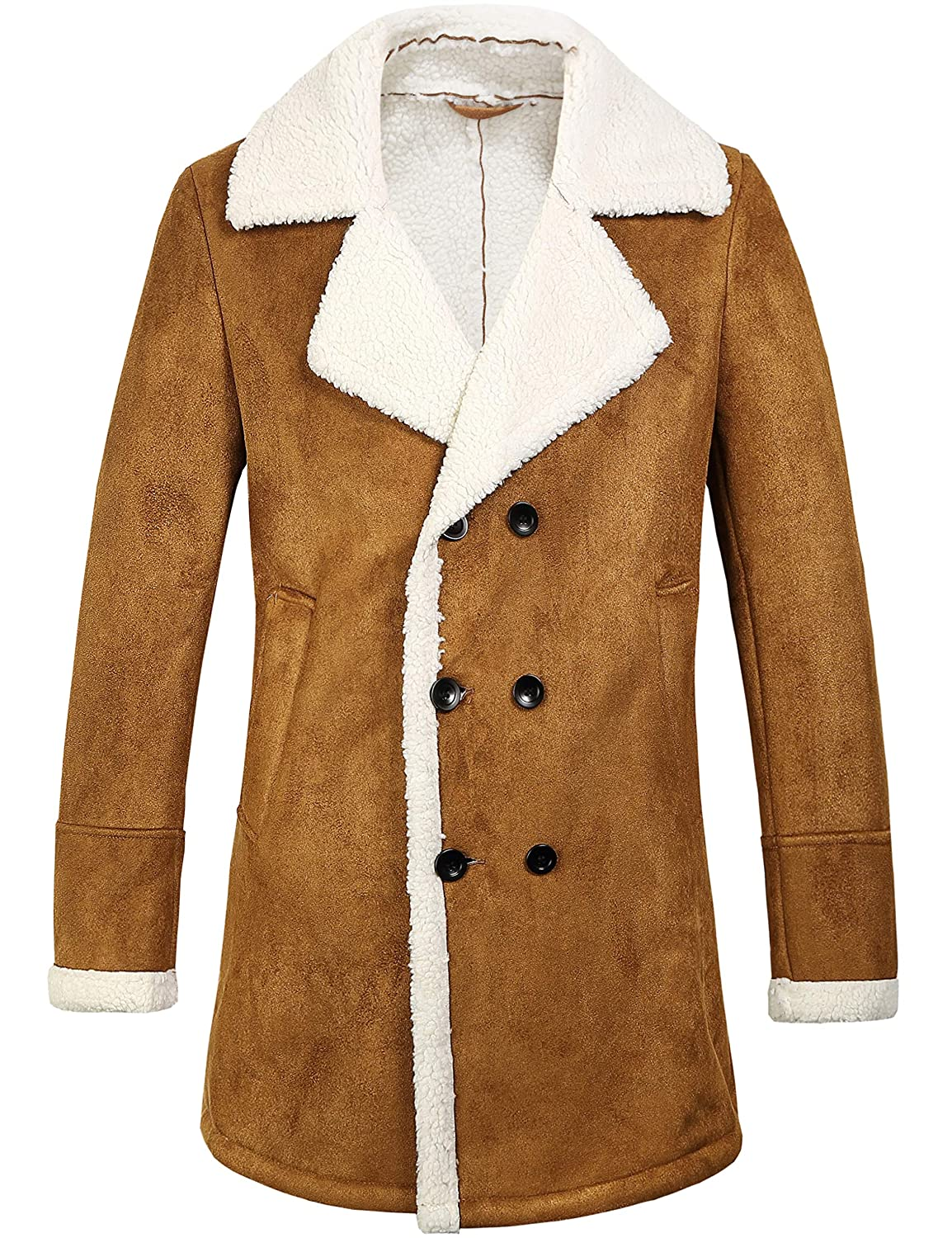 SSLR Men's Winter Double Breasted Shearling Lined Long Suede Jacket