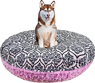 product image for BESSIE AND BARNIE Signature Cotton Candy/Versailles Pink Extra Plush Faux Fur Bagel Pet/Dog Bed (Multiple Sizes)