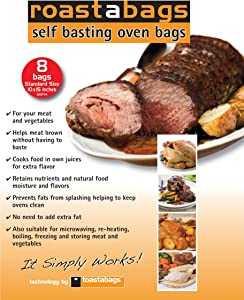 Roastabags - Self Basting Oven Bags (Pack of 8) for Brining and Roasting Chicken, Meat, Seafood & Vegetables. Bags Size 10 X 15.25 Inches