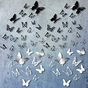 168 Pieces 3D Butterfly Wall Stickers Crystal Butterfly Wall Decor 3D Mirror Butterfly Combination Decor DIY Butterfly Mural Decal Wall Art Craft for Kids Bedroom Wall Wedding, 3 Styles