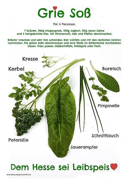 Grie soß Postal 2 pieza Impresión A6 verdes salsas Hesse Recetas 7 hierbas comer regalo