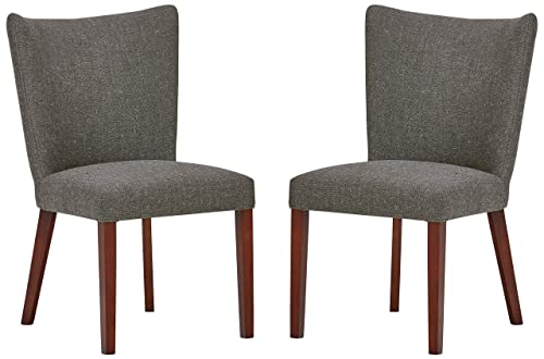 Rivet Tina Mid-Century Modern Curved Back Kitchen Dining Chairs, 25 W x 36 H, Ash Grey, Set of 2