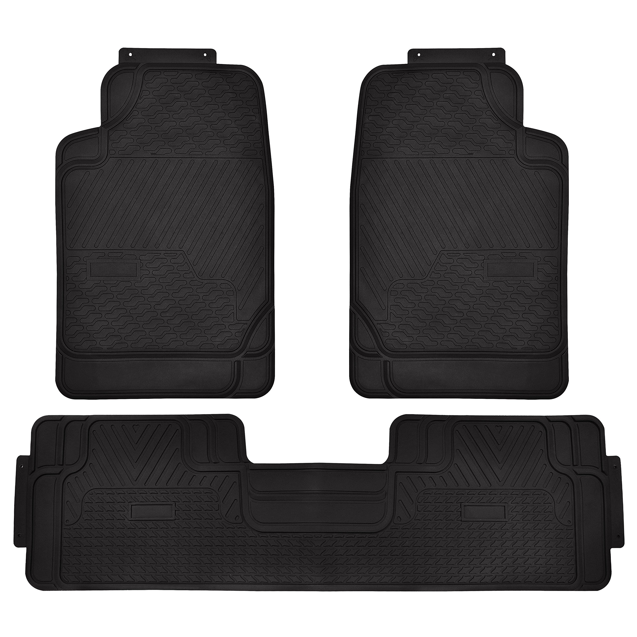 Floor Mats 3PC Rubber Heavy Duty Auto Floor Mats Front and Rear For Car SUV Truck & Van – Black
