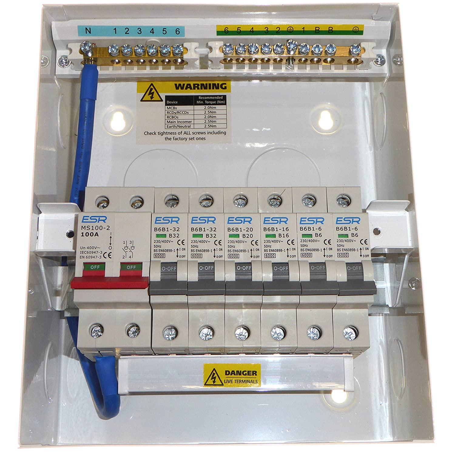 Garage Consumer Unit Metal Clad 4 Way Fuse Box Fitted With Rcd 63amp 30ma 1x6amp