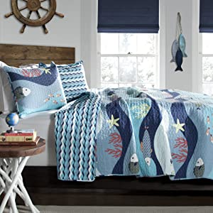 Lush Decor Sealife Fish Ocean Wave Reversible 3 Piece Quilt Bedding Set, Full/Queen, Blue