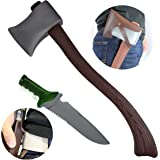 """JOYIN 23"""" Axe Toy & 10"""" Knife Toy with Leather Cases for Buffalo Plaid and Lumberjack Party Suppies and Prop Weapon Toys"""