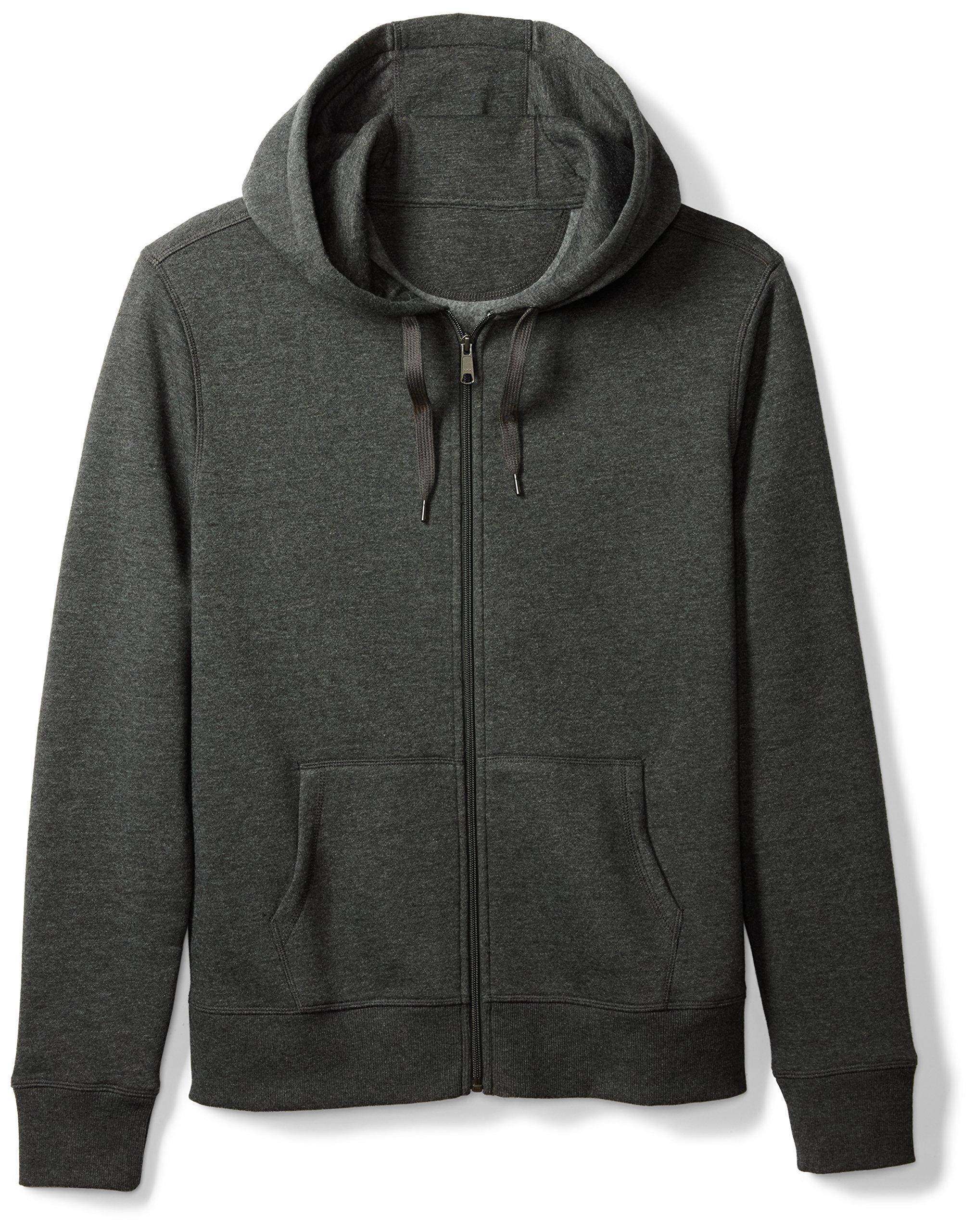 Amazon Essentials Men's Full-Zip Hooded Fleece Sweatshirt, Charcoal Heather, Medium