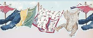 Light Blue Hanging Laundry Wallpaper Border 4034 SG