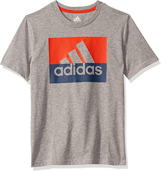 Adidas Boys' Big Short Sleeve Cotton Jersey Logo T-Shirt, Grey ...